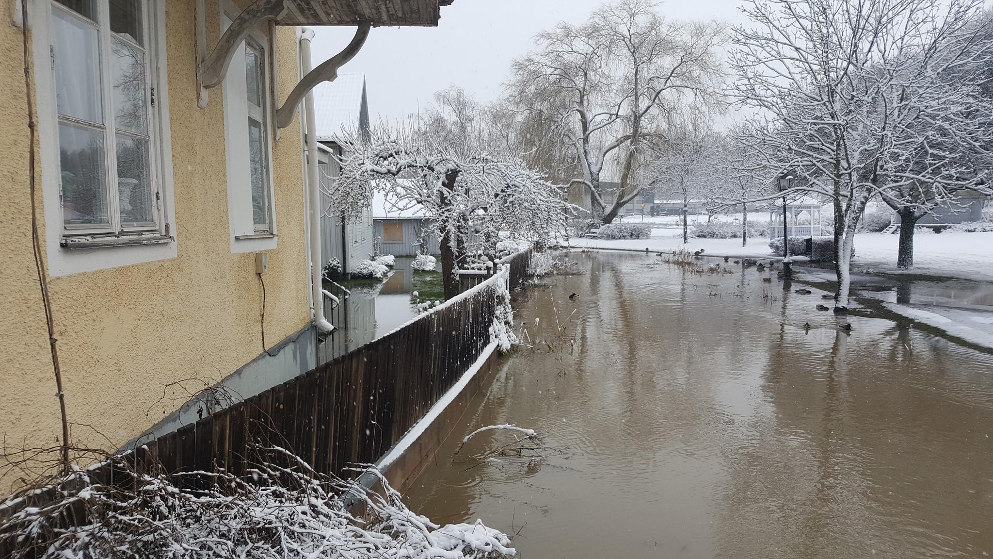 Vattnet hotar byggnaderna – kraftiga flöden